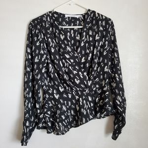 Womens semi sheer black & white print blouse MED